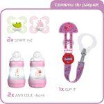 MAM Welcome Baby Starter Set, kit nouveau né, cadeau de naissance 2 biberons Easy Start anti-colique (160mL), 2 tétines Start en silicone 0-2 mois & attache, FILLE de la marque MAM image 4 produit